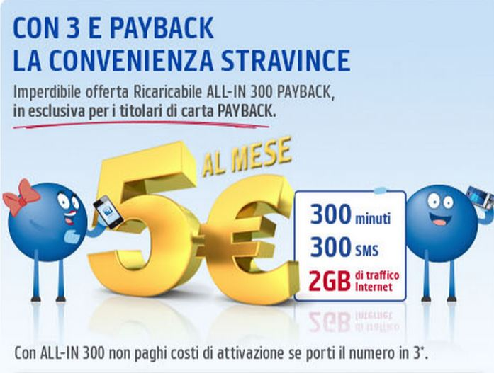 ALL-IN 300 con Carta PAYBACK:300 min, 300sms e 2GB a 5 Euro al mese